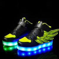 儿童发光男童运动板亮灯USB充电翅膀led女童闪光七彩夜光