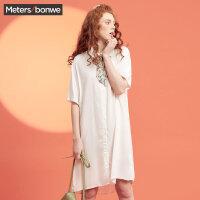 【2件2.5折到手价:36.25】美特斯邦威短袖衬衫女装夏装新款ulzzang爱心刺绣长款衬衫8