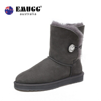 emugg钻扣中筒防滑女靴冬季保暖羊皮毛一体雪地靴女二棉鞋雪地棉