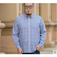 衬衣男宽松男士格子长袖衬衫休闲薄款纯棉加肥加大码男装胖子外穿