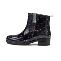 新款冬秋女时尚中短筒马丁加绒雨鞋防水防滑波点韩版雨靴水鞋软底