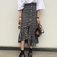 裙子2018女装夏季韩版宽松显瘦不规则格子半身裙学生百搭款长裙潮