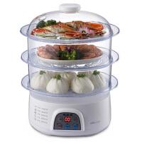 自动断电蒸汽锅功能电蒸锅家用蒸笼三层蒸菜锅 白色