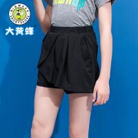 大黄蜂童装 儿童裤子女 女童短裤2019夏季新款小女孩黑色休闲短裤