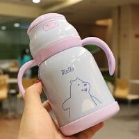 W 卡通创意宝宝吸管杯学饮杯双手柄漏真空不锈钢保温杯可爱婴幼儿饮水杯N5 紫盖300ml 手柄款