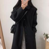 【品牌清�}】赫本�L毛呢外套女2020秋冬季新款�n版黑色中�L款呢子大衣流行加厚