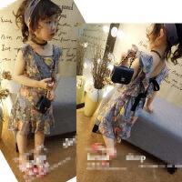 韩版童装年夏季新款女童荷叶边系带露背印花雪纺背心裙B7-A49