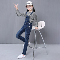 中大童女童背带牛仔裤秋季新款韩版4-6-8-10-12岁时尚小女孩裤子 蓝色