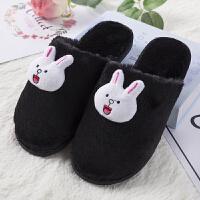情侣棉拖鞋女冬季室内居家居韩版可爱保暖时尚布朗熊卡通毛绒拖鞋 黑色 可妮兔+可妮兔