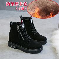 真皮马丁靴女英伦风2018秋冬季新款高帮鞋厚底内增高短靴雪地靴子SN9356
