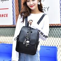 新款双肩包女韩版软皮时尚背包大容量妈咪包学生书包旅行包 黑色