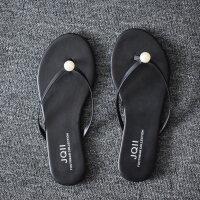黑色皮简约海边平底跟防滑夹脚人字拖女夏时尚外穿沙滩凉拖鞋 珠珠+