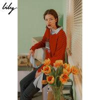 【不打烊价:179.7元】 Lily春新款女装V领不规则毛针织衫118330B8305