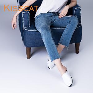 接吻猫2017夏新款舒适两穿凉鞋女牛皮穆勒平跟深口单鞋DA87484-52