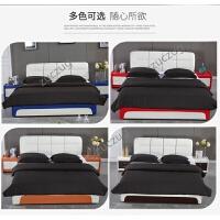 zuczug皮床 双人床小户型皮艺床1.5 1.8米婚床真皮床主卧简约公主床家具 +3D乳胶床垫