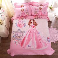 小孩被子三件套公主四件套纯棉磨毛床上用品儿童卡通被套床单三件套床笠