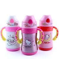 hello Kitty保温杯220ml儿童吸管水杯凯啼猫不锈钢带吸管保温水杯子3601