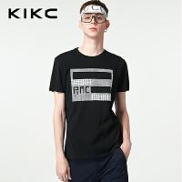 kikc短袖T恤男 2018夏季新款时尚圆领青年修身字母印花休闲上衣男