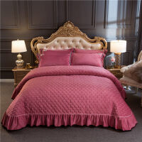 水晶绒床盖三件套加厚夹棉珊瑚绒床单床罩单件冬季保暖床上用品 水晶绒 豆沙 床盖 250*270cm 枕套48*74一对