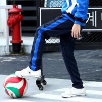 藏青色蓝边校服裤男女童黑色运动裤儿童高中小学生校裤初中一条杠 藏青色