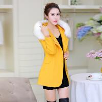 2018秋冬新款毛呢外套女韩版中长款修身显瘦呢子大衣连帽毛领风衣