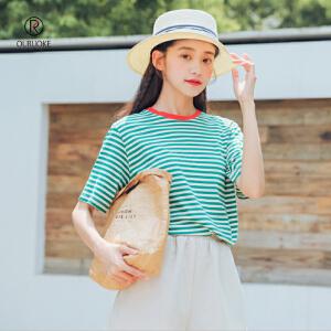 欧若珂  2018夏季新款复古清新领口撞色条纹短袖T恤女