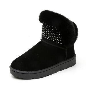 WARORWAR新品YM151-R1188冬季欧美磨砂反绒平底舒适水钻兔毛女士雪地靴