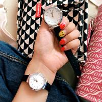 韩国韩版简约文艺复古圆形百搭情侣手表学生手表时尚石英女表