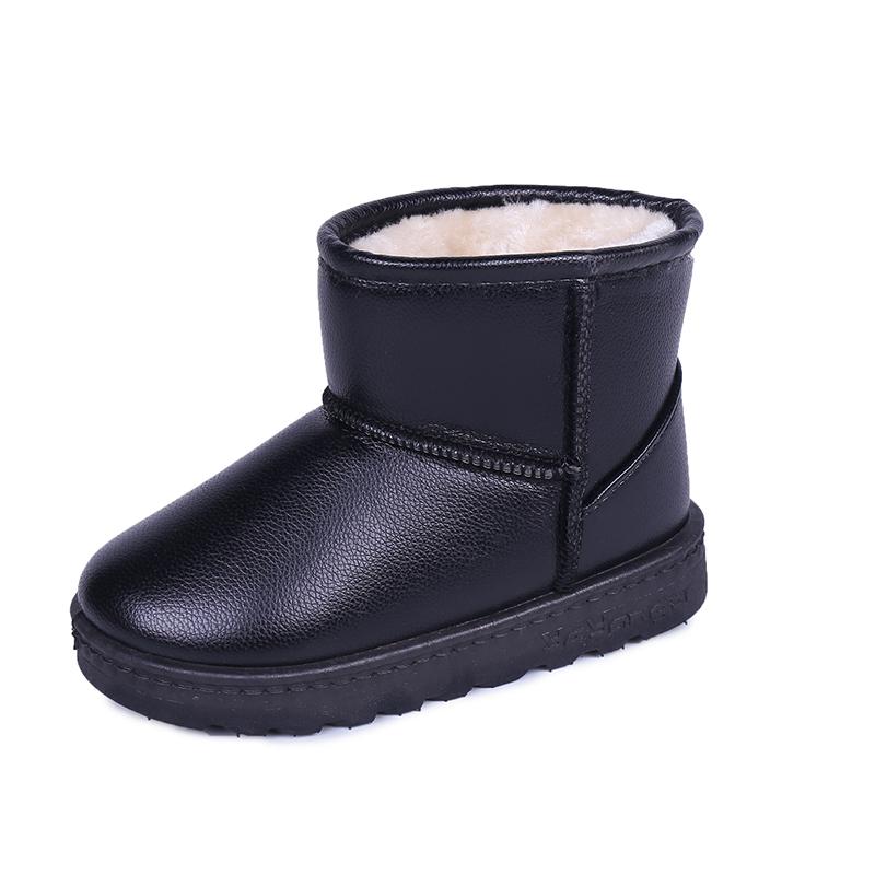 儿童雪地靴女童靴子防水加绒加厚棉鞋冬季鞋防滑男童短靴宝宝棉靴srr 皮面防水款