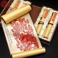 剪纸丝绸画装饰画 中国风特色礼品送老外出国小礼物手工艺品