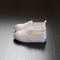 儿童帆布鞋男女童一脚蹬懒人童鞋男童布鞋2018春秋款黑白色帆布鞋