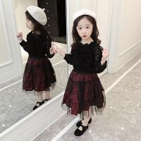 女童秋装长袖上衣+裙子两件套装小女孩韩版时尚洋气衣服