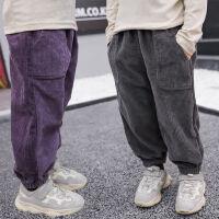 小童冬天裤子男童秋冬灯芯绒裤子加绒1-6岁男女宝宝灯笼裤保暖裤