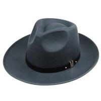 男女士舞台表演帽子 中老年人复古礼帽 黑色大檐爵士礼帽