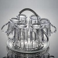 【支持礼品卡】家用刻花玻璃水杯套装透明耐热泡茶杯喝水杯子加厚果汁杯创意杯具jk3