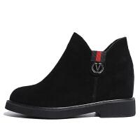 2018新款短靴真皮侧拉链内增高短款英伦单靴黑色坡跟皮靴冬秋新品