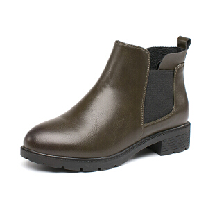 如熙2017短靴秋冬季新款粗跟靴子女靴简约短筒踝靴切尔西女鞋