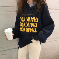 印花字母剪破连帽加绒卫衣女春季新款韩版宽松百搭蝙蝠袖套头上衣