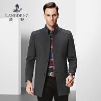 浪登2017新款男士立领羊毛大衣 商务修身中长款风衣中年男装外套K0029