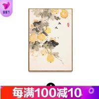 新中式装饰画客厅玄关走廊沙发背景壁画花鸟国画三联组合挂画品质保证 40*60 黑色框 单幅价格