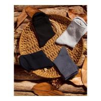 纤维男袜商务袜休闲四季男小方格中筒绅士常规正装袜子 均码