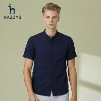 Hazzys哈吉斯夏季时尚纯棉短袖男士衬衫英伦青年休闲绅士衬衣男