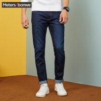 美特斯邦威牛仔裤男弹力修身冬装新款显瘦长裤子韩版潮商场款