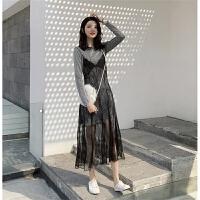 优雅淑女银灰色亮闪闪长袖连衣裙+中长款网纱吊带裙两件套装女春
