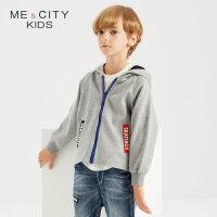 【1件2折到手价:69.8】米喜迪mecity童装秋装新款男童宽条撞色拼接针织开衫