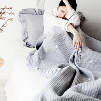 ???简约全棉床盖三件套夹棉绗缝盖被夏被纯棉单件1.8/1.5米四季铺盖