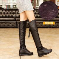 2018新款过膝长靴弹力靴冬季平跟大码高筒靴子女士过膝靴单靴srr