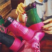 20180430044657483秋季新款真皮马丁靴女英伦风糖果粉色单靴子学生平底短靴潮