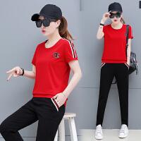 运动服套装女夏装短袖七分裤2018新款时尚圆领夏天休闲套装两件套 红色 女士M建议85斤-98斤