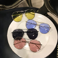 韩国潮款GD明星圆形眼镜彩色透明太阳镜果冻色海洋片男女墨镜